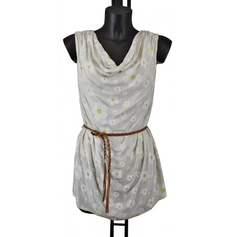 tunique imprimee avec ceinture tressee f7163 grossiste pret a porter et grossiste vetement en ligne