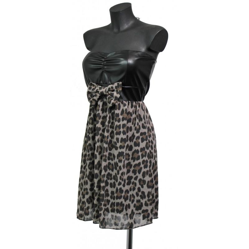 Robe voile leopard simili cuir a8193t grossiste pret a - Grossiste en ligne pret a porter ...