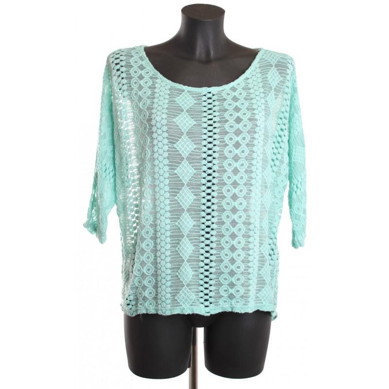 t shirt brode vert pastel a8537 grossiste pret a. Black Bedroom Furniture Sets. Home Design Ideas
