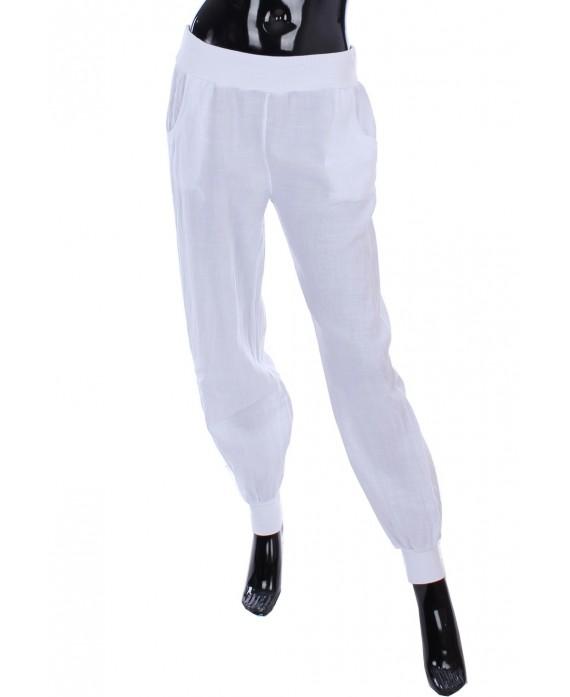 pantalon en lin blanc 1985 grossiste pret a. Black Bedroom Furniture Sets. Home Design Ideas