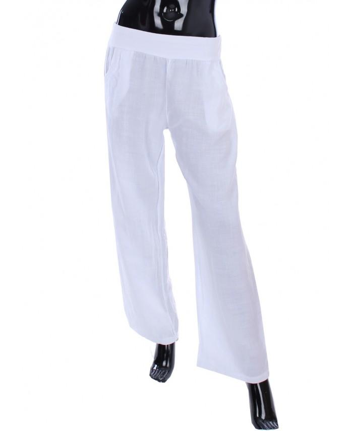 pantalon en lin blanc 1986 grossiste pret a. Black Bedroom Furniture Sets. Home Design Ideas