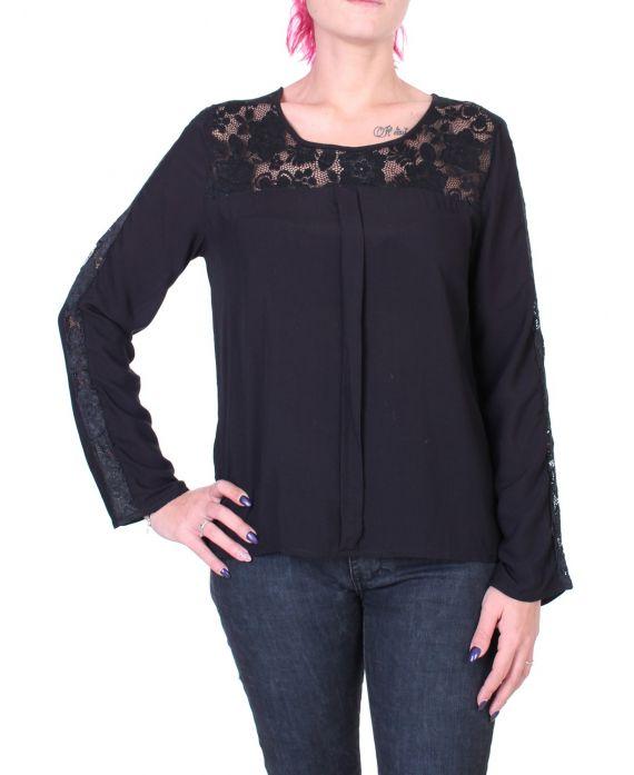 blouse dentelle noir 1048 grossiste pret a. Black Bedroom Furniture Sets. Home Design Ideas
