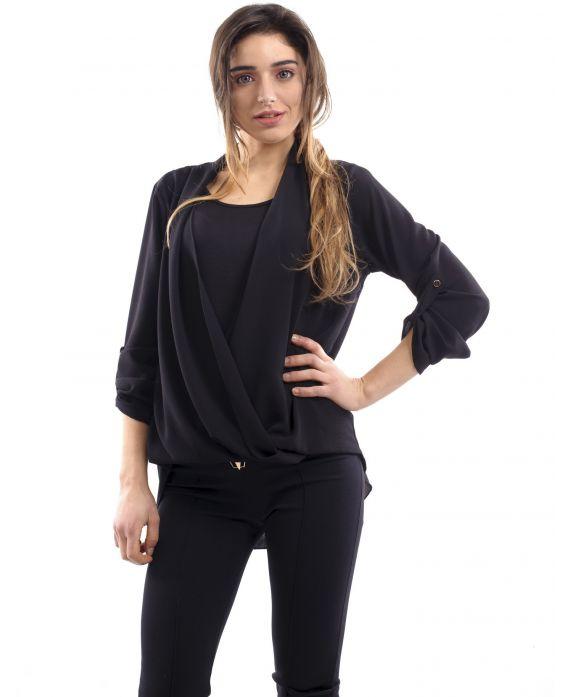 blouse drapee dentelle noir s7005 grossiste pret a. Black Bedroom Furniture Sets. Home Design Ideas