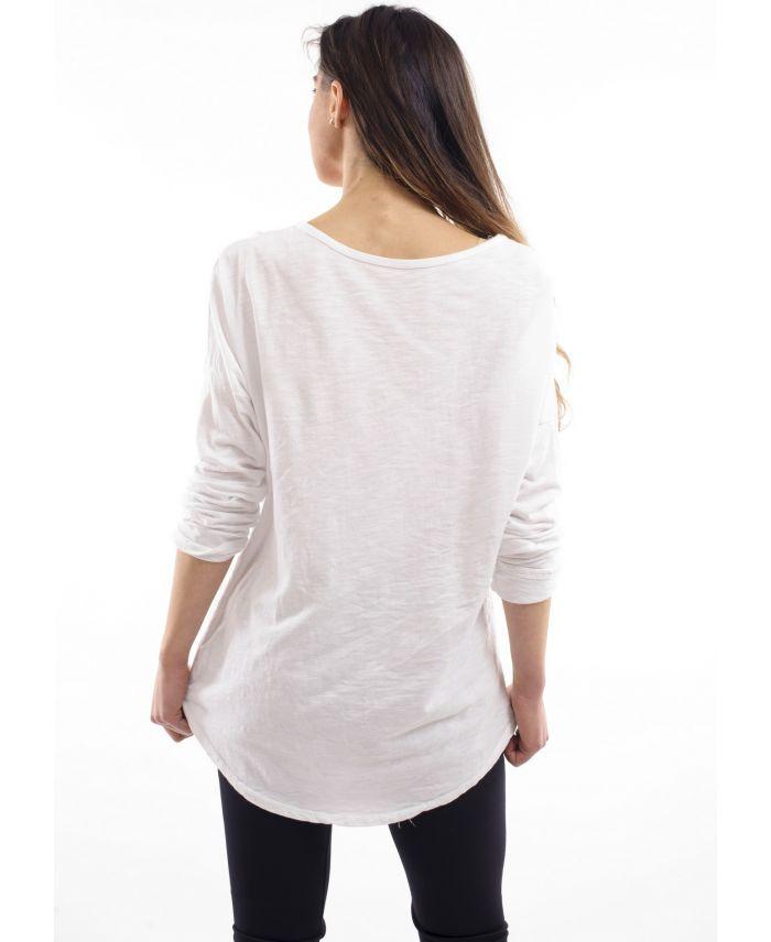 t shirt coeur brode blanc s7004 grossiste pret a. Black Bedroom Furniture Sets. Home Design Ideas