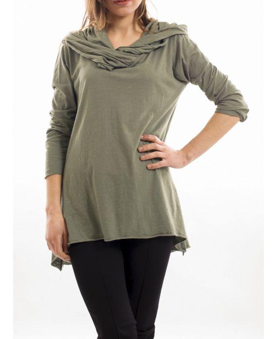 t shirt capuche vert militaire s7029 grossiste pret a. Black Bedroom Furniture Sets. Home Design Ideas