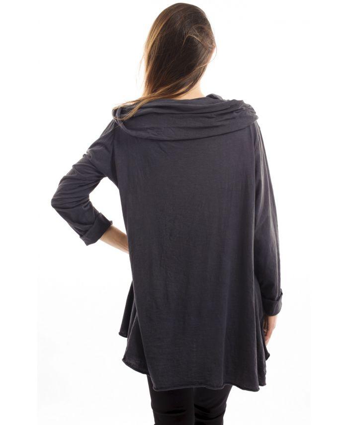 t shirt capuche gris s7029 grossiste pret a. Black Bedroom Furniture Sets. Home Design Ideas