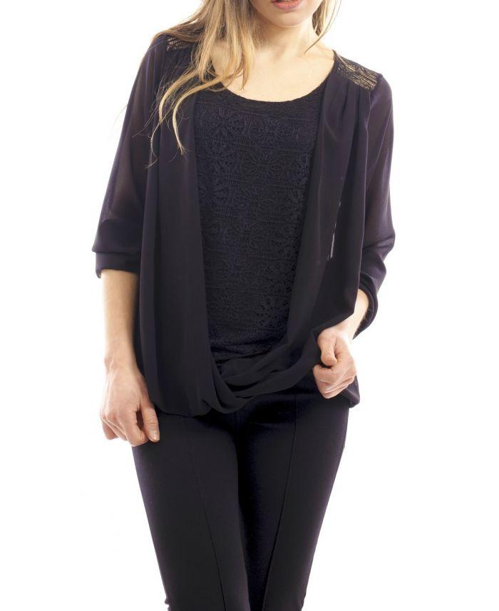 blouse drapee dentelle noir s9003 grossiste pret a. Black Bedroom Furniture Sets. Home Design Ideas
