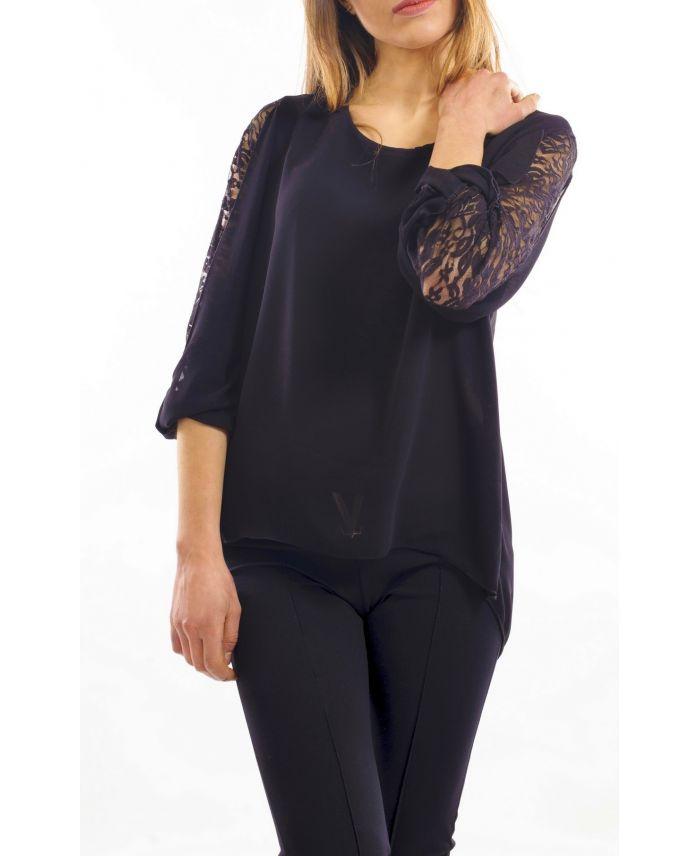 blouse dentelle noir s9029 grossiste pret a. Black Bedroom Furniture Sets. Home Design Ideas