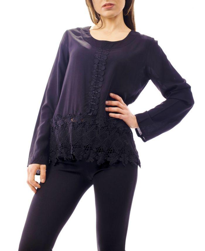 blouse dentelle 1068 noir grossiste pret a. Black Bedroom Furniture Sets. Home Design Ideas