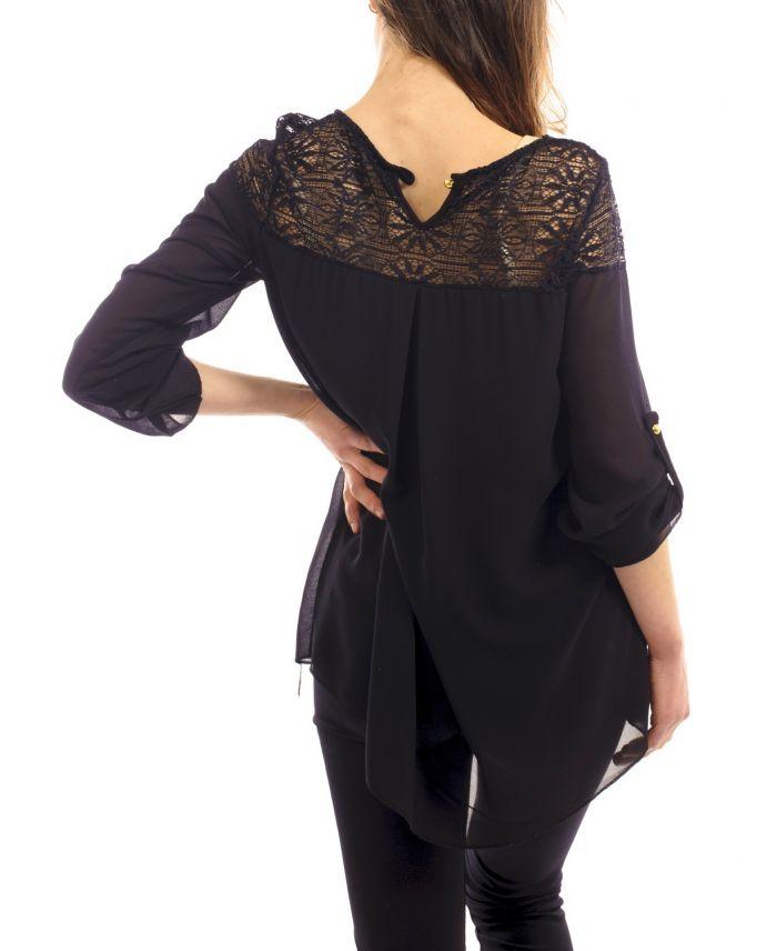 blouse dentelle s9045 noir grossiste pret a. Black Bedroom Furniture Sets. Home Design Ideas