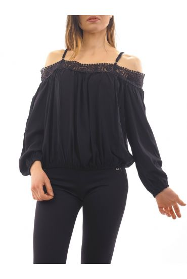 BARE SHOULDER TOP 1072 BLACK