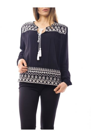 EMBROIDERED TOP 1074 BLACK