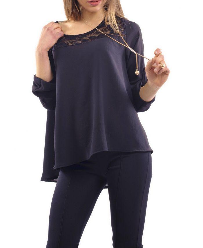 blouse dentelle bijou noir s7006 grossiste pret a. Black Bedroom Furniture Sets. Home Design Ideas