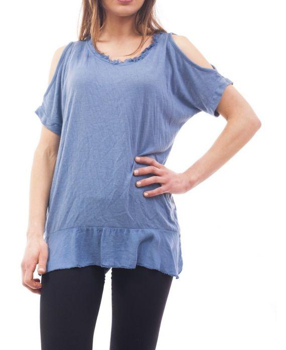 t shirt epaules denudees s9057 bleu grossiste pret a. Black Bedroom Furniture Sets. Home Design Ideas