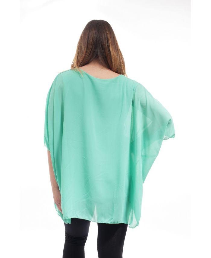 grande taille tunique voilage gt1070 vert pastel grossiste pret a. Black Bedroom Furniture Sets. Home Design Ideas