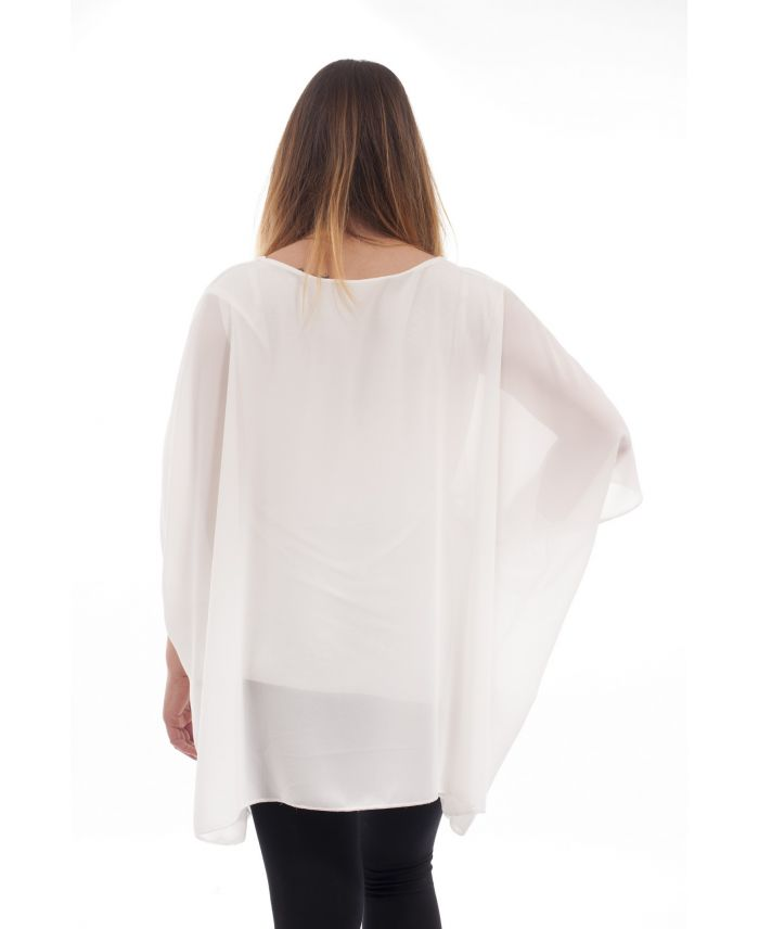 grande taille tunique voilage gt1070 blanc grossiste pret a. Black Bedroom Furniture Sets. Home Design Ideas