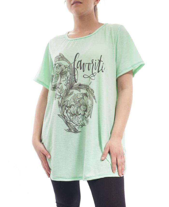grande taille t shirt strass gt1028 vert pastel grossiste pret a. Black Bedroom Furniture Sets. Home Design Ideas