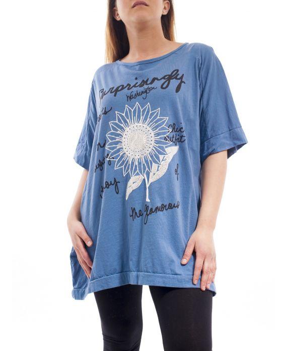 grande taille t shirt fleur gt1038 bleu grossiste pret a. Black Bedroom Furniture Sets. Home Design Ideas