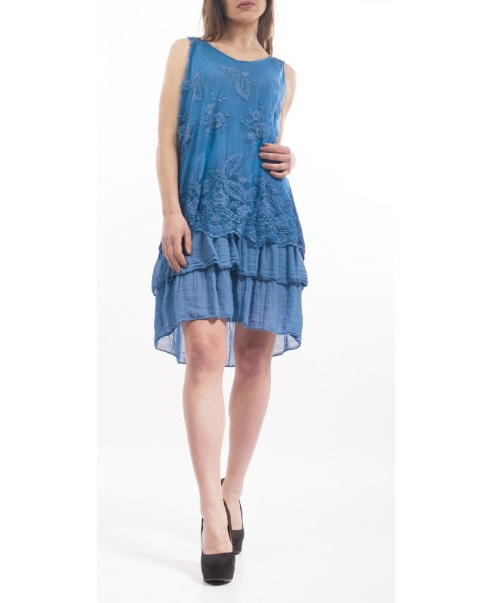 robe tunique dentelle s9148 blue grossiste pret a porter