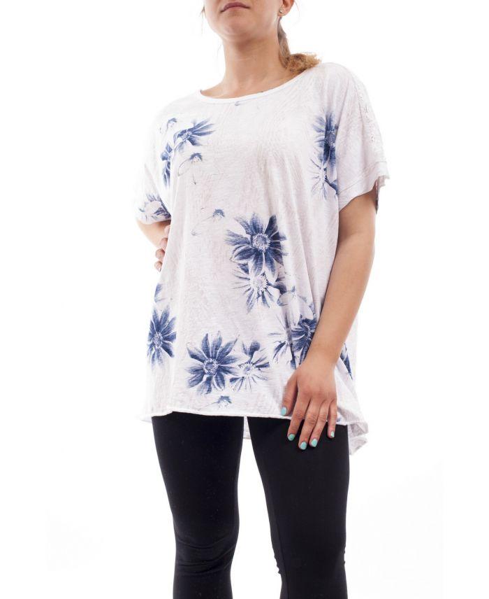 grande taille t shirt dentelle fleurs gt1093 blanc. Black Bedroom Furniture Sets. Home Design Ideas