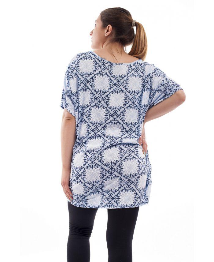 grande taille t shirt imprime gt1088 bleu grossiste pret. Black Bedroom Furniture Sets. Home Design Ideas