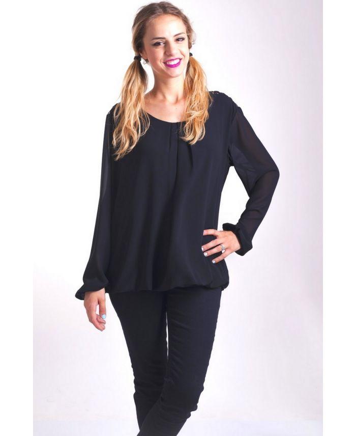 blouse dos dentelle 4005 noir grossiste pret a. Black Bedroom Furniture Sets. Home Design Ideas