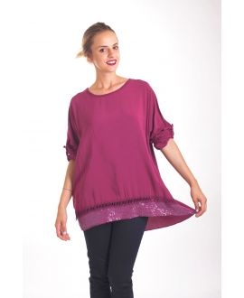 TUNIC SEQUINS 4022 BORDEAUX