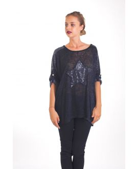T-SHIRT STAR SEQUIN 4019 BLACK