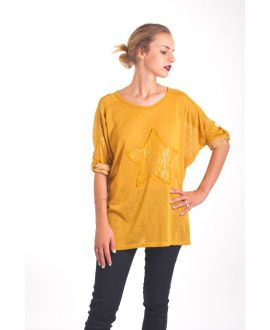 T-SHIRT STAR SEQUIN 4019 MUSTARD