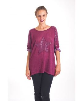 T-SHIRT STAR SEQUIN 4019 BORDEAUX