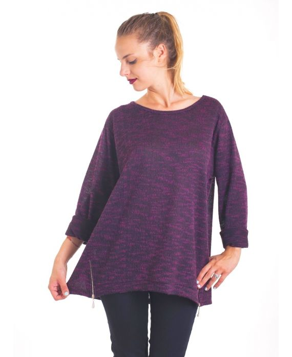 SWEATER ZIPS 4026 BORDEAUX