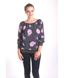 BLOUSE FLOWERS 4015 MILITARY GREEN