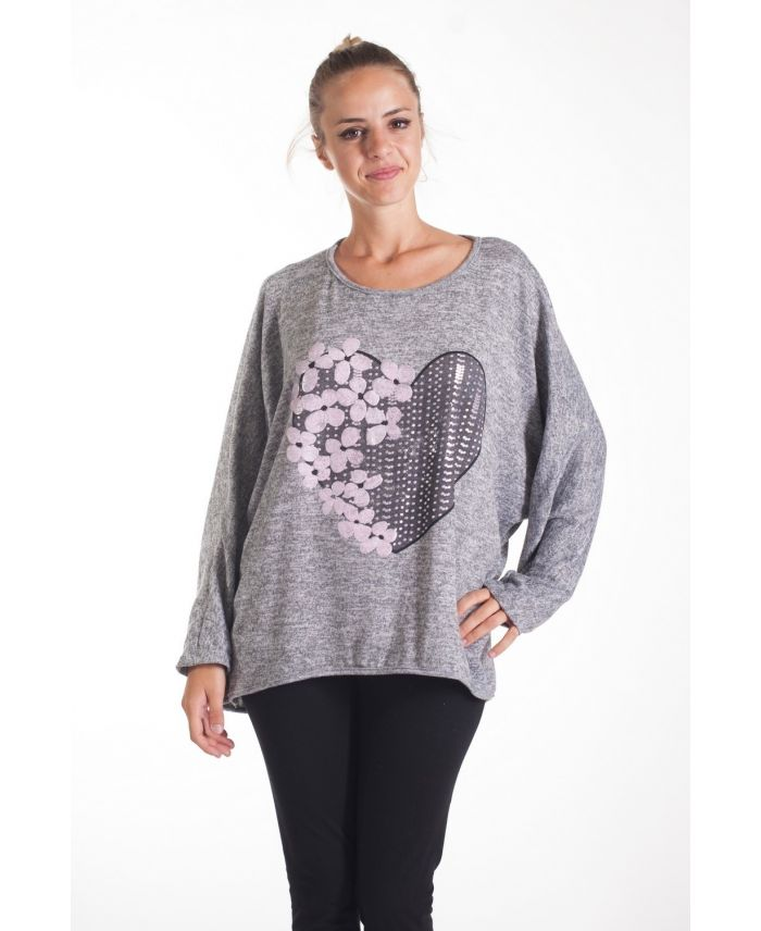 t shirt flocage fleurs 4079 gris grossiste pret a. Black Bedroom Furniture Sets. Home Design Ideas