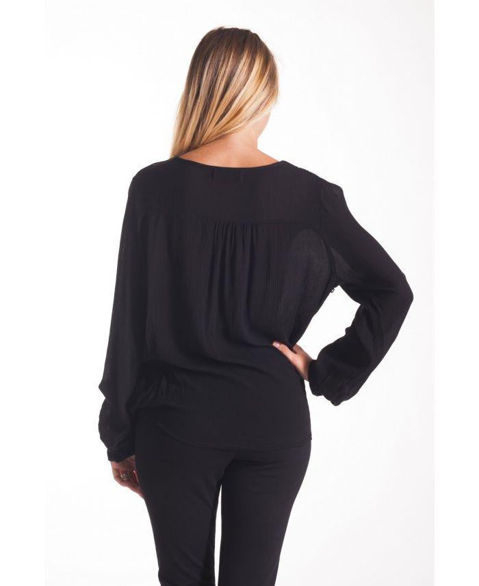 blouse drapee dentelle noir 1051 grossiste pret a. Black Bedroom Furniture Sets. Home Design Ideas