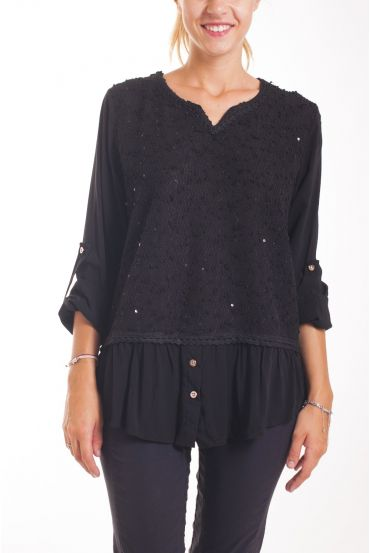 PULL TUNIC PAILLETTES BLACK 1092