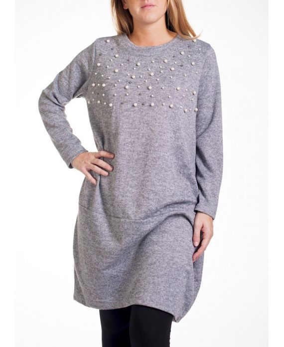 Grande taille pull robe perles 4279 gris grossiste pret a - Robes americaines pret a porter ...