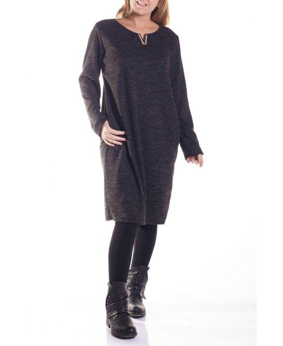 große grÖße kleid v-ausschnitt 4328 schwarz - www