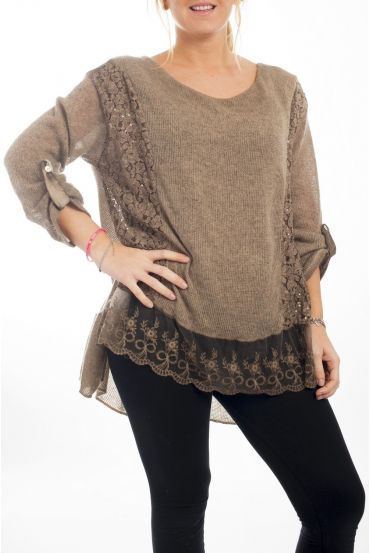 TUNIC MOHAIR EMPIECEMENT 4498 TAUPE