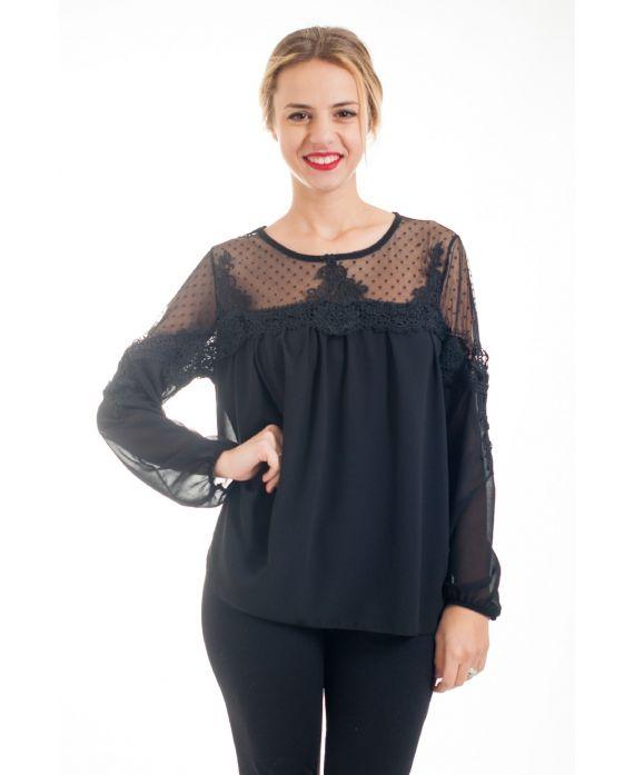 blouse empiecement dentelle 4529 noir grossiste pret a. Black Bedroom Furniture Sets. Home Design Ideas