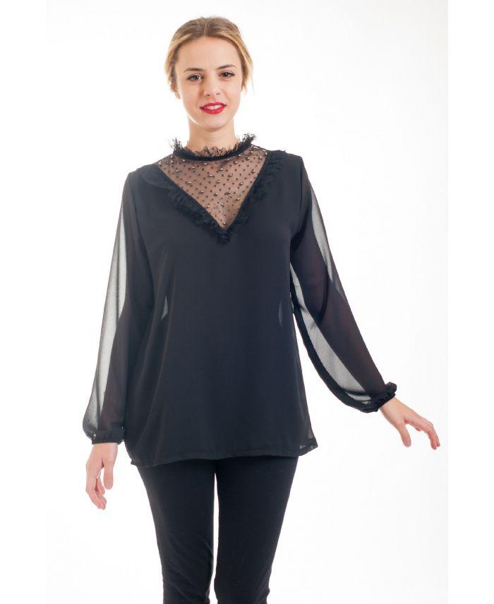 blouse dentelle cloutee 4531 noir grossiste pret a. Black Bedroom Furniture Sets. Home Design Ideas