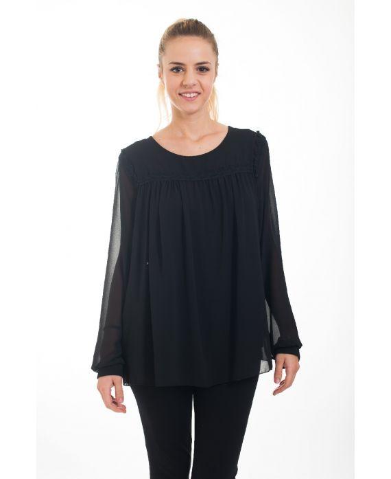 blouse empiecement dentelle 4528 noir grossiste pret a. Black Bedroom Furniture Sets. Home Design Ideas