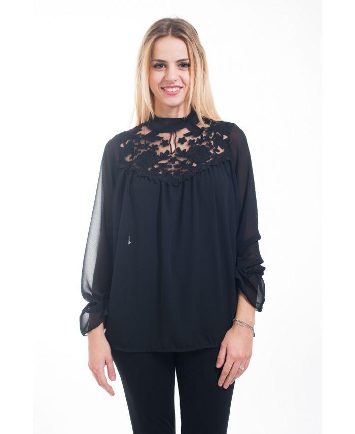 blouse dentelle 4598 noir grossiste pret a. Black Bedroom Furniture Sets. Home Design Ideas