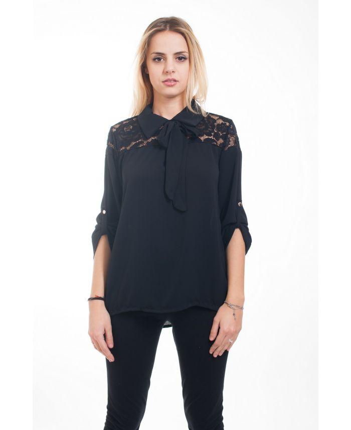 blouse dentelle 4608 noir grossiste pret a. Black Bedroom Furniture Sets. Home Design Ideas