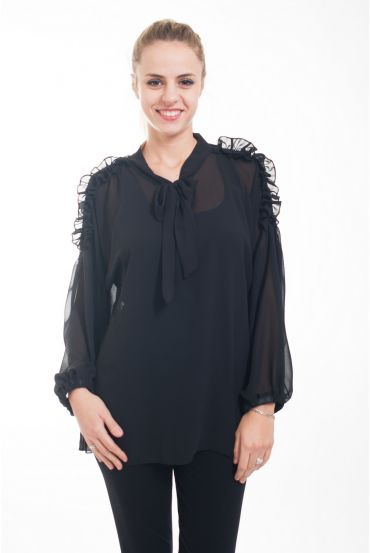 BLOUSE NECKLINE HAS TIE 4610 BLACK