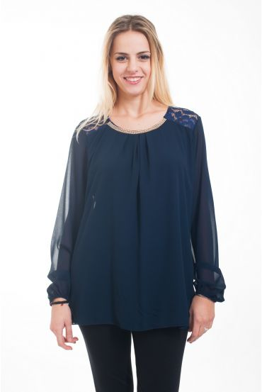 TUNICA STRASS & PIZZO 4611 NAVY