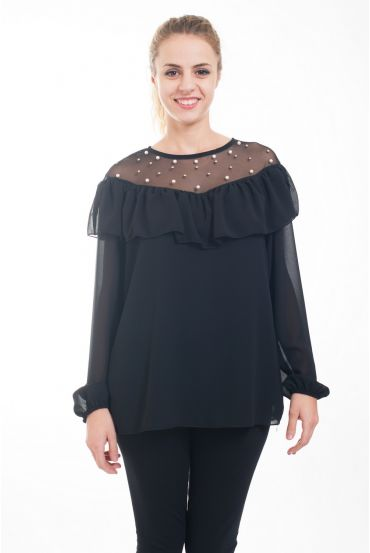 BLOUSE LACE CLOUTEE 4613 BLACK