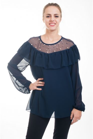 BLOUSE LACE CLOUTEE 4613 NAVY