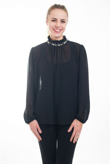 BLOUSE NECKLINE BEADS 4616-BLACK