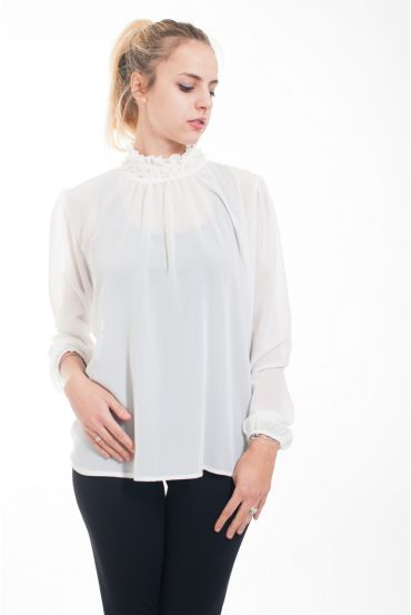 BLOUSE NECKLINE BEADS 4616-WHITE