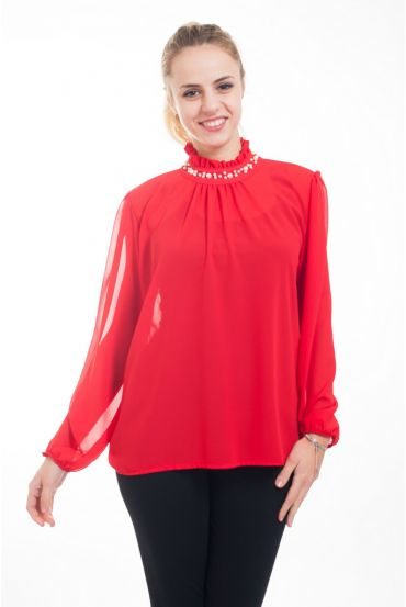 BLOUSE NECKLINE BEADS 4616 RED
